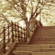 Stairs in park, budapest in golden color — Stock Photo #10624350