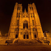 St. Michael and Gudula Cathedral at night — Stock Photo