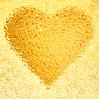 Frozen gold heart — Stock fotografie