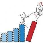 Businessman fight chart — Stock Vector