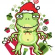 Stock Vector: Frog santa - Vector Version available