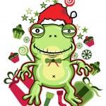 Frog santa - Vector Version available — Stock Vector