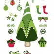 Stock Vector: Christmas cute elements set