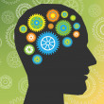 Head thinking gear vector — Stock Vector