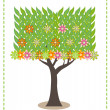 Green leaf flower tree illustration — Stock Vector