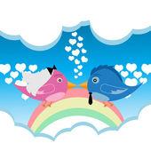 Bird Couple Love — Stock Vector