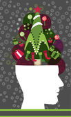 Head Christmas tree think — Stock Vector