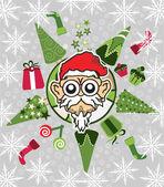 Santa christmas tree world vector — Stock Vector