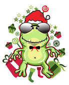 Frog santa - Vector Version available — Stock Vector
