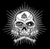 Black white Skull head — Stock Vector