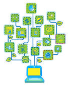 Network Internet Tree Technology Communication vector — Vector de stock