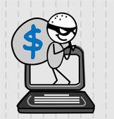 Hacker thief Vector — Stock Vector