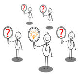 Idea man around confused man — Stock Vector