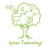 Arbre des technologies vert écologie — Vecteur