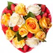 Composition of Roses in the shape of heart — Stock Photo