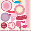 Stock Vector: Set of cute scrapbook elements. vector illustration
