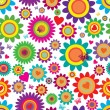 Spring flowers - seamless vector pattern - Stockvectorbeeld