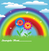 Bright spring with rainbow — Stock Vector