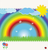 Spring background with rainbow - vector illustration — Stock Vector