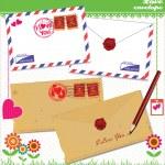 Love envelope - Valentine Scrapbook Elements — Stock Vector #10100832