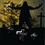 Spooky graveyard halloween background — Stock Vector