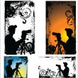 Grunge vector Photographers silhouette set — Stock Vector