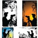 Grunge vector Photographers silhouette set — Stock Vector