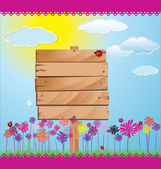 çim, çiçek ve mavi gökyüzü ile ahşap işareti — Stok Vektör