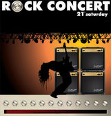 Rock concert wallpaper with Guitar Combo and volume knob — Stock Vector