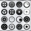 Vector gear and cogwheel set isolated on silver background — Stock Vector