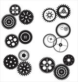 Vector gear and cogwheel set isolated on white — Stock Vector