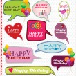 Stock Vector: Speech bubbles retro design - Happy Birthday
