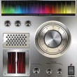 Vector volume knob with digital colorful equalizer - Imagens vectoriais em stock
