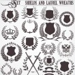 Set - shields and laurel wreaths - Stok Vektör