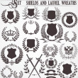 Set - shields and laurel wreaths - 图库矢量图片