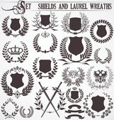 Set - shields and laurel wreaths — Stock Vector