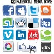 Grunge social media icons - Stock Vector