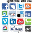 Grunge social media icons - Vektorgrafik