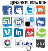 Grunge social media icons — Stock Vector