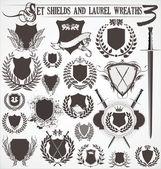 Set - shields and laurel wreaths 3 — Stock Vector