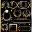 Vector set of black gold - framed labels — Stock Vector