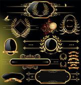 Vector set of black gold - framed labels — Stock Vector