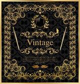 Vintage gold black frame decor label — Stock Vector