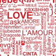 Seamless love background - word collage in different language — Imagen vectorial