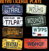 Retro licence plates vector illustration — Stock Vector