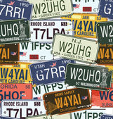Seamless Background - Retro Auto Licence Plates — Stock Vector