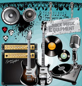 Different Rock Music Equipment — Vetorial Stock