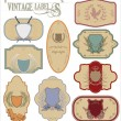 Vintage labels with laurel wreaths and shields — Stock Vector