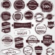 Grunge Vintage Quality Labels - Stock Vector