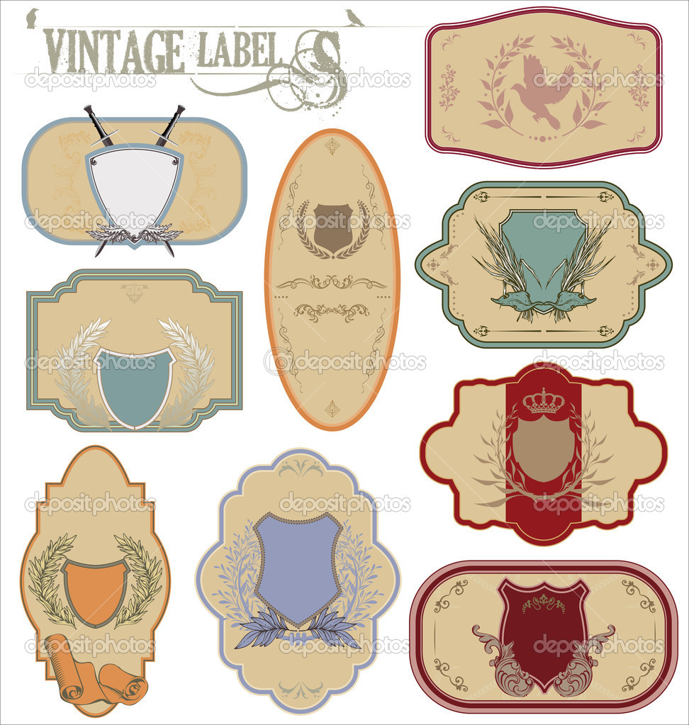 Vintage labels with laurel wreaths and shields — Stock Vector #8991283
